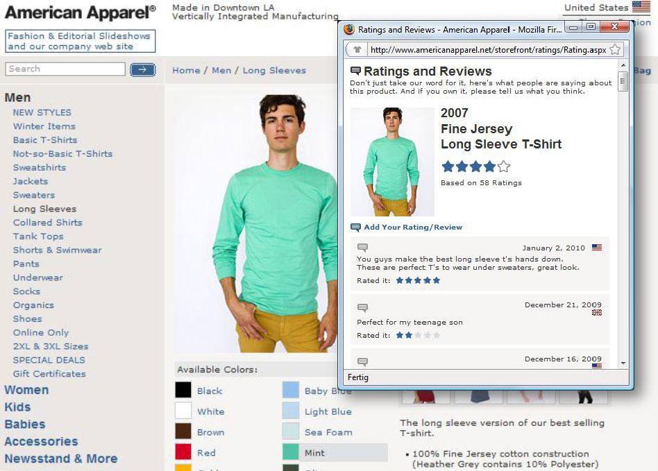 Reviews auf der Site von American Apparel