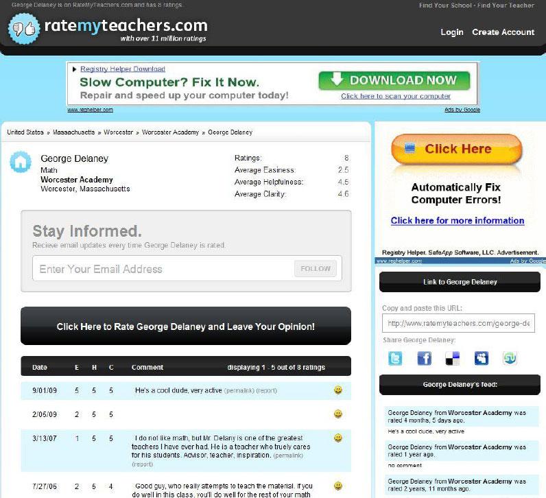 Lehrerbenotung bei Ratemyteachers.com