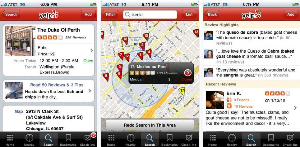 Mobile Reviews bei Yelp
