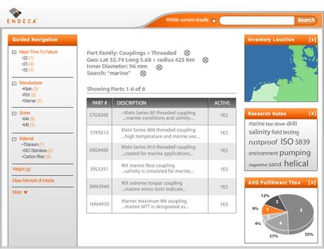 Screenshot eines Endeca.com Beispiels