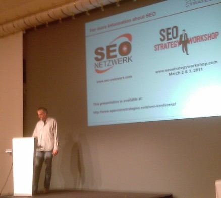 Joe Spencer speaking on technical search engine optimization at SEO conference of the Internet Briefing