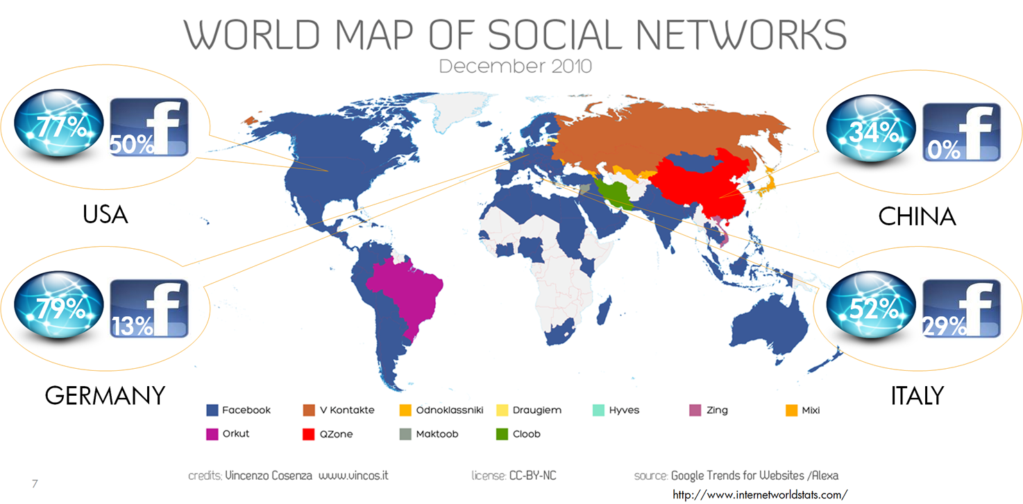 World-Map-Social-Networks: Online and Facebook population