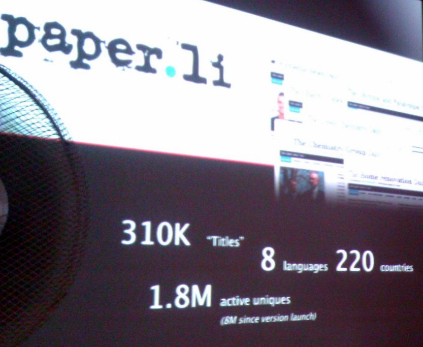 Paper.li usage numbers as presented on Mobile-Monday-Geneva