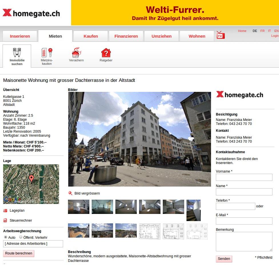 homegate.ch Homepage Wohnung mieten Wohnungsdaten und Fotos