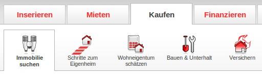 homegate.ch Navigation Immobilie kaufen