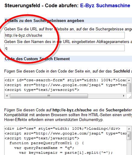 Code der Google Custom-Search für den Suchschlitz und die Trefferliste SERP