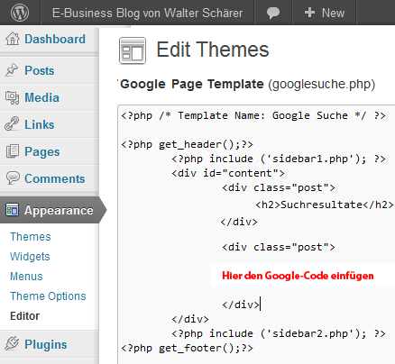 Google Custom-Search Code in WordPress php Template-Vorlage einfügen