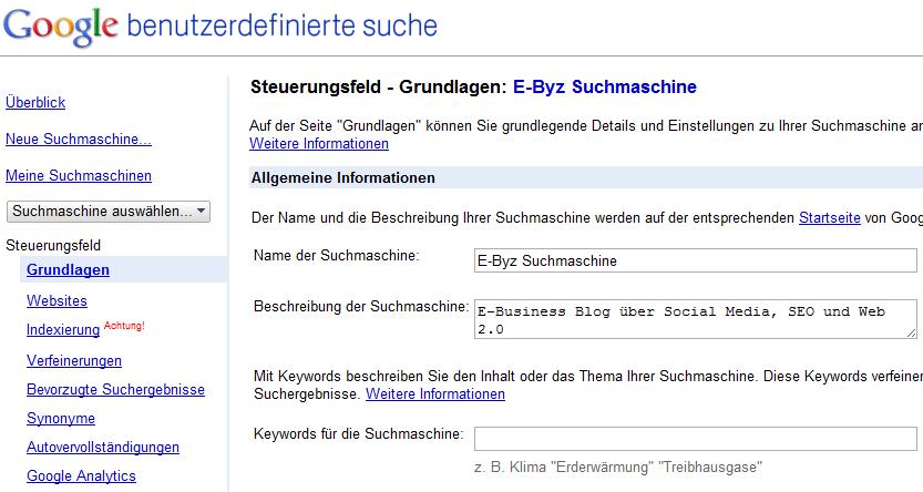 Konfiguration einer eigenen Google-Suchmaschine per User-Interface