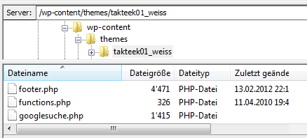 Ordnerstruktur im WordPress-Ordner auf dem Webserver