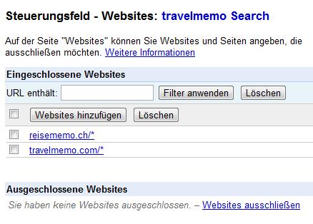 URLs angeben, die von Google CSE durchsucht werden sollen