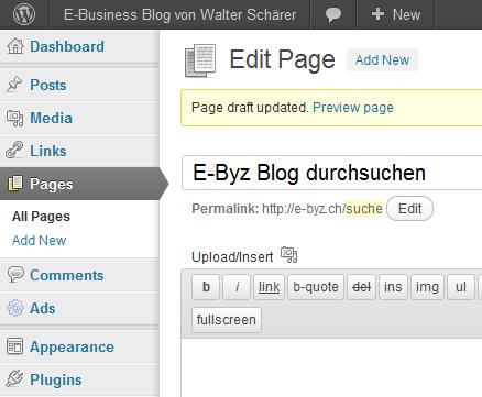 In WordPress eine neue Seite erstellen für die Trefferliste der Google Custom Search