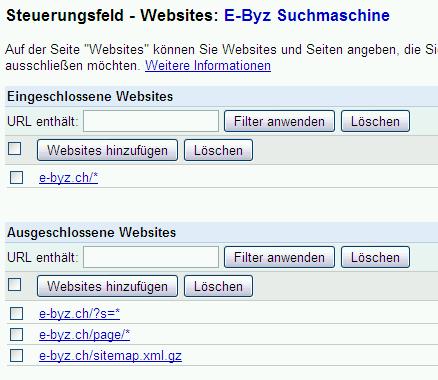 Web-Adressen, die aus der Google-Suche auszuschliessen sind