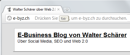 Blog durchsuchen durch Eingabe der URL und Tab in Google's Chrome Browser