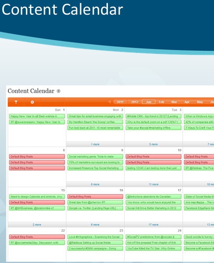 Calendar of social media communication action