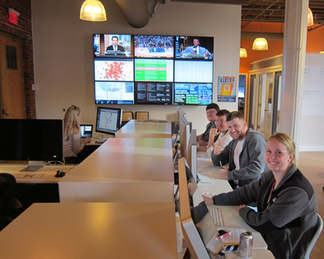 Social media staff at their workstations during Super Bowl 2012