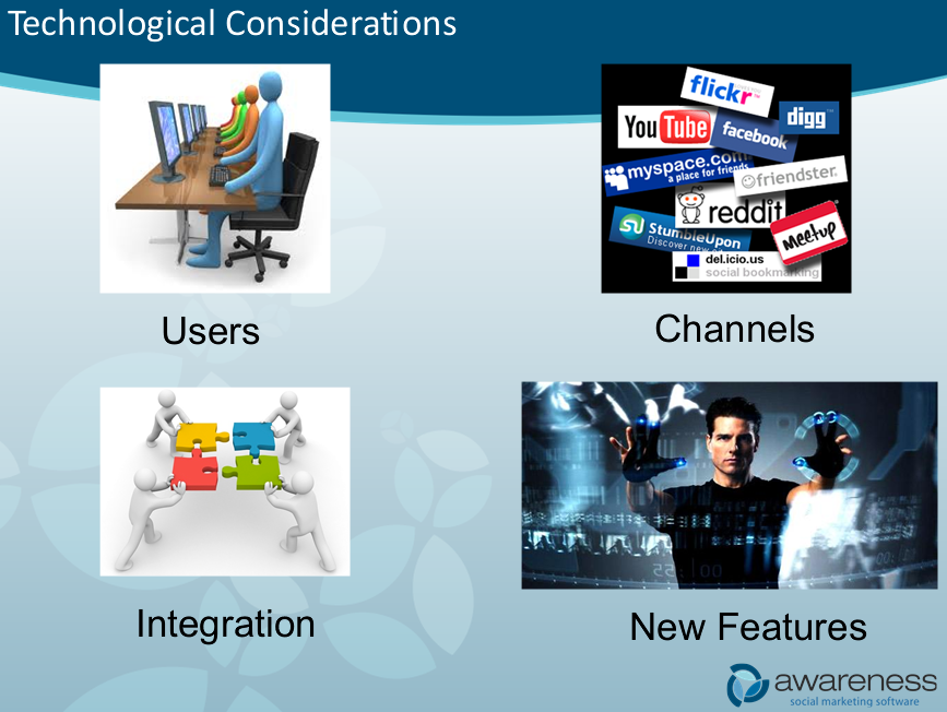 Technological issues and channels available to social media