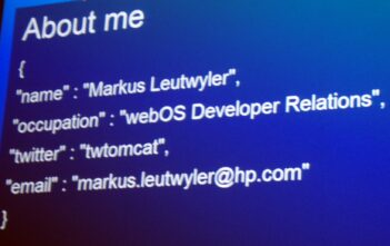 Adresse von HPs Markus Leutwyler als webOS developer relations manager