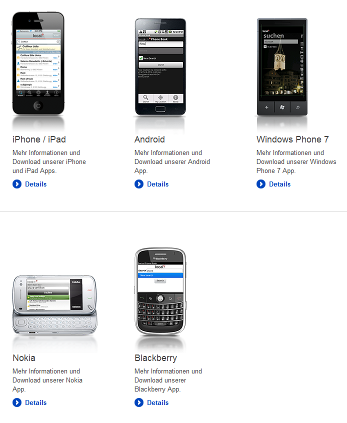 Sample native apps by Local.ch