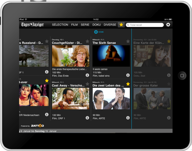 Tagesanzeiger iPad mobile app for watching TV