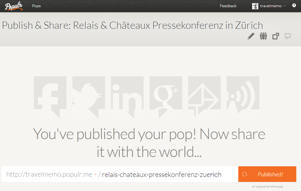 Populr.me Inhalte-Sharing nach Publikation