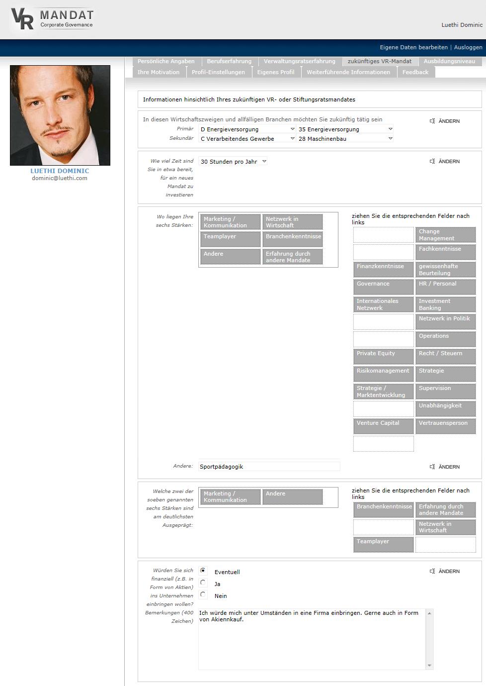 Profil eines Verwaltungsrats bei VRMandat.com