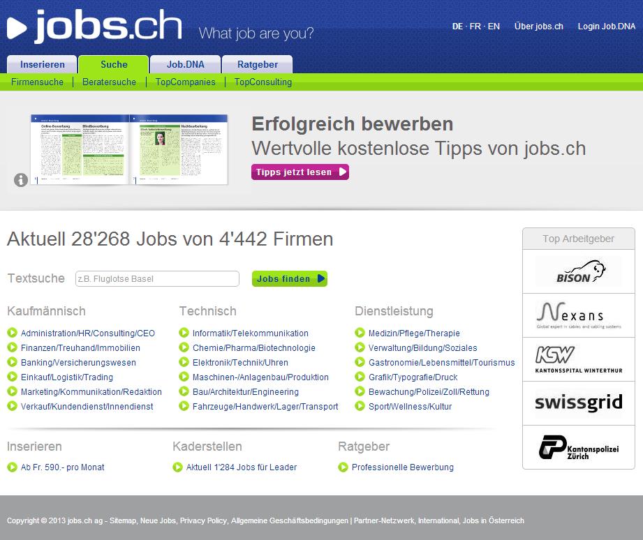 jobs.ch homepage
