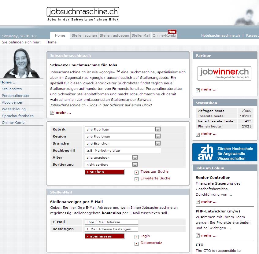 www.jobsuchmaschine.ch Homepage