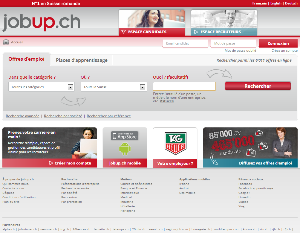 jobup.ch Homepage