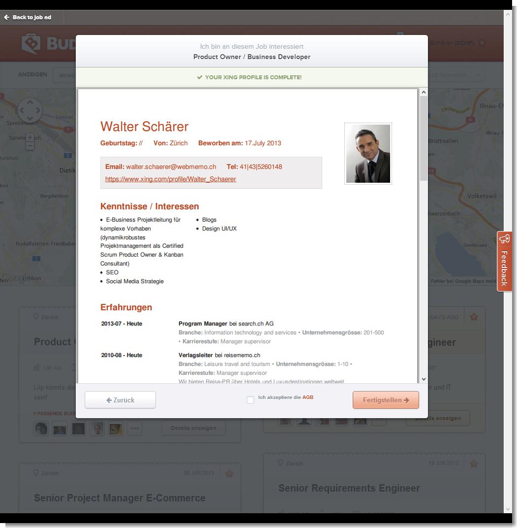 Xing-Profil als BuddyBroker.com CV