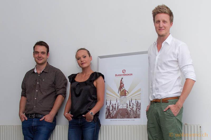 v.r. CEO Flurin Müller, Marketing-Manager Andjela Popovic und Sales Manager Mario Götz