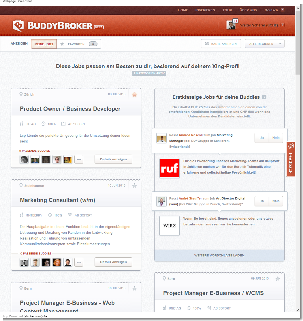 BuddyBroker.com listet die Jobs in Form eines Pinboards