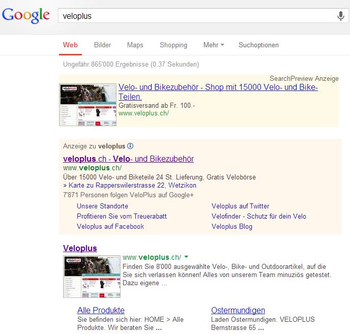 """Google Trefferliste für """"VeloPlus"""" mit Darstellung der Anzahl Follower im Inserat"""