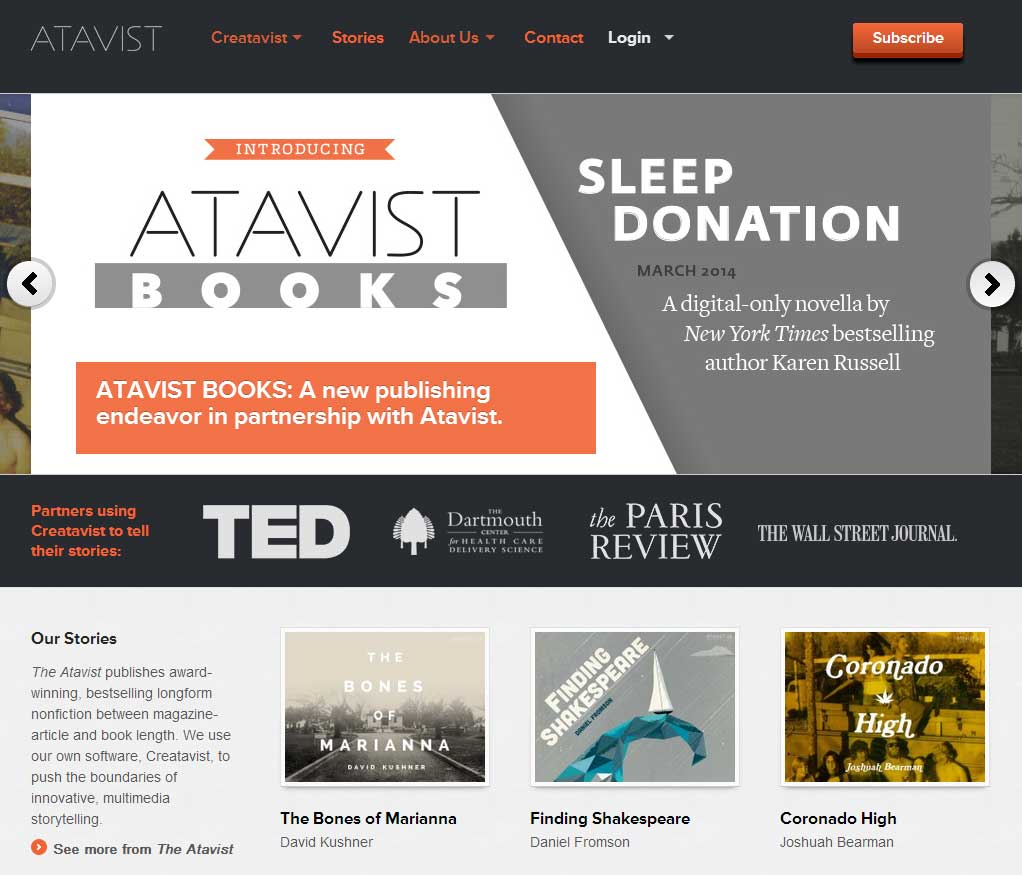 The Atavist, die Publishing-Plattform des Creativist Storytelling-Tools