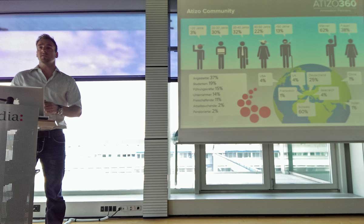 Atizo CEO Adrian Gerber präsentiert die Innovations- und Brainstorming-Community Atizo