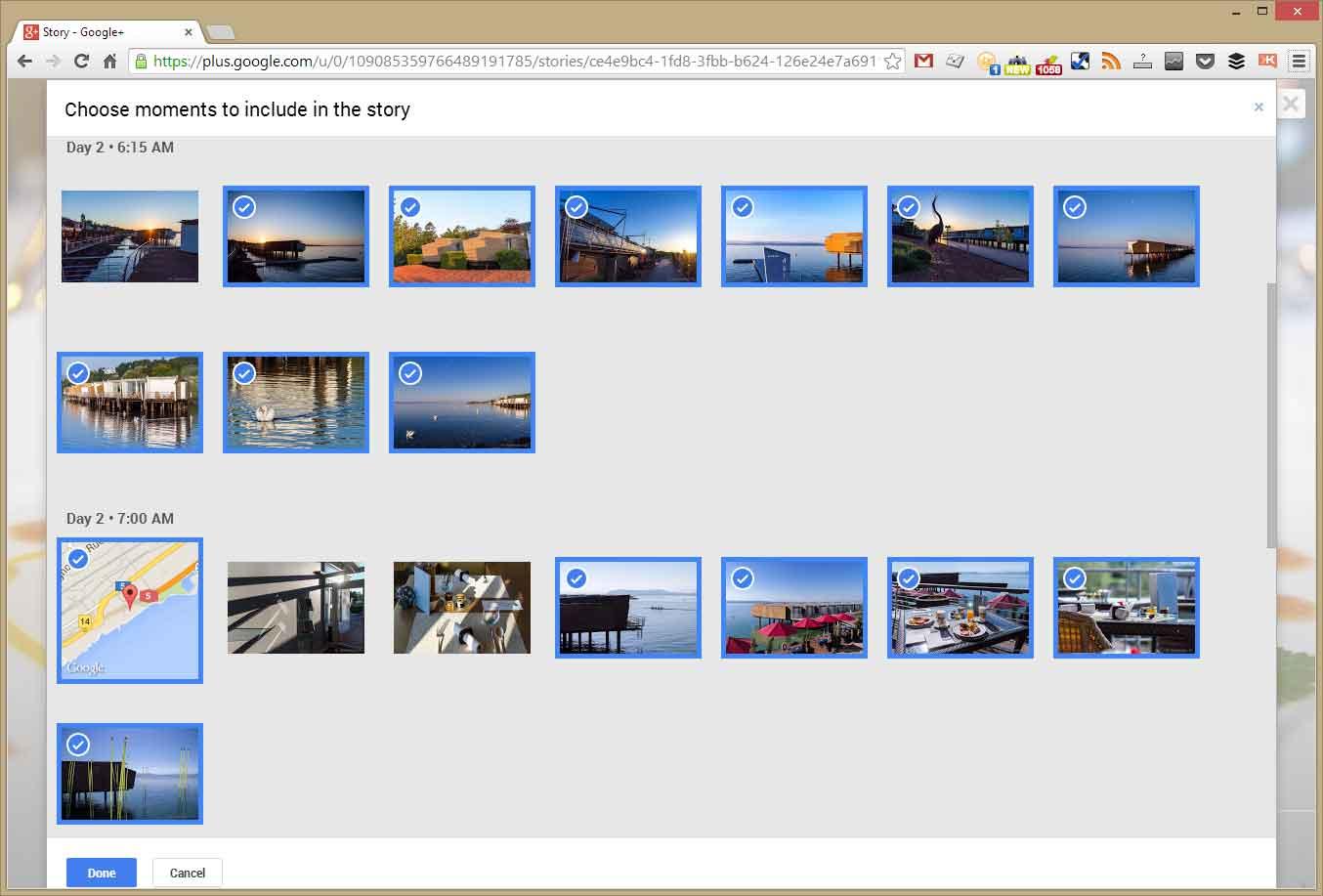 Automatisch gewählte Fotos mit Editierfunktion in Google Stories