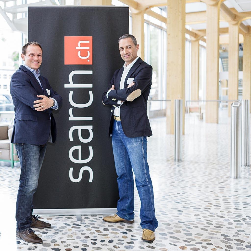 Gastgeber Dimitri Burkhard und Walter Schärer für search.ch am Tamedia-Hauptsitz