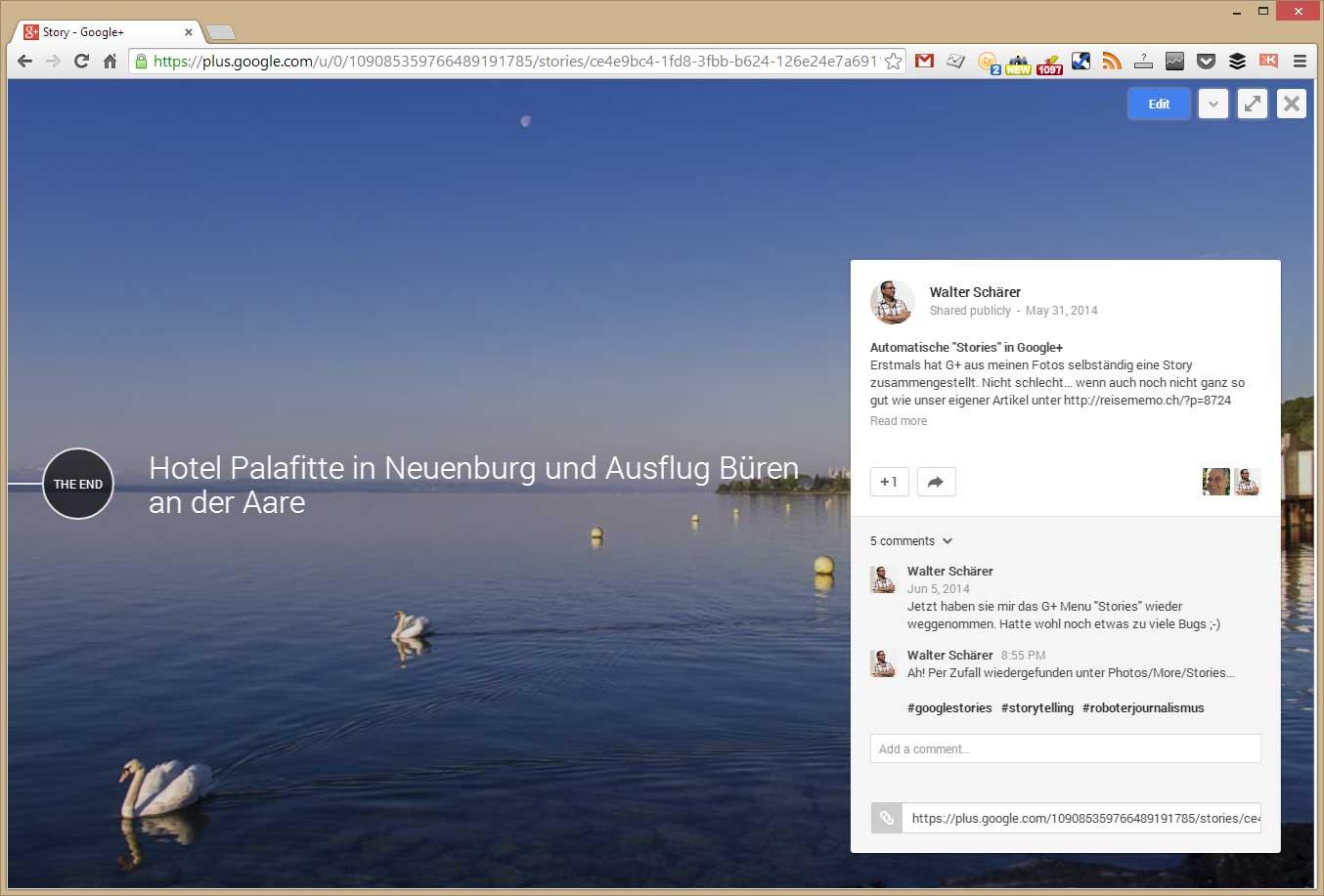 Publizieren der Google Story via Google+
