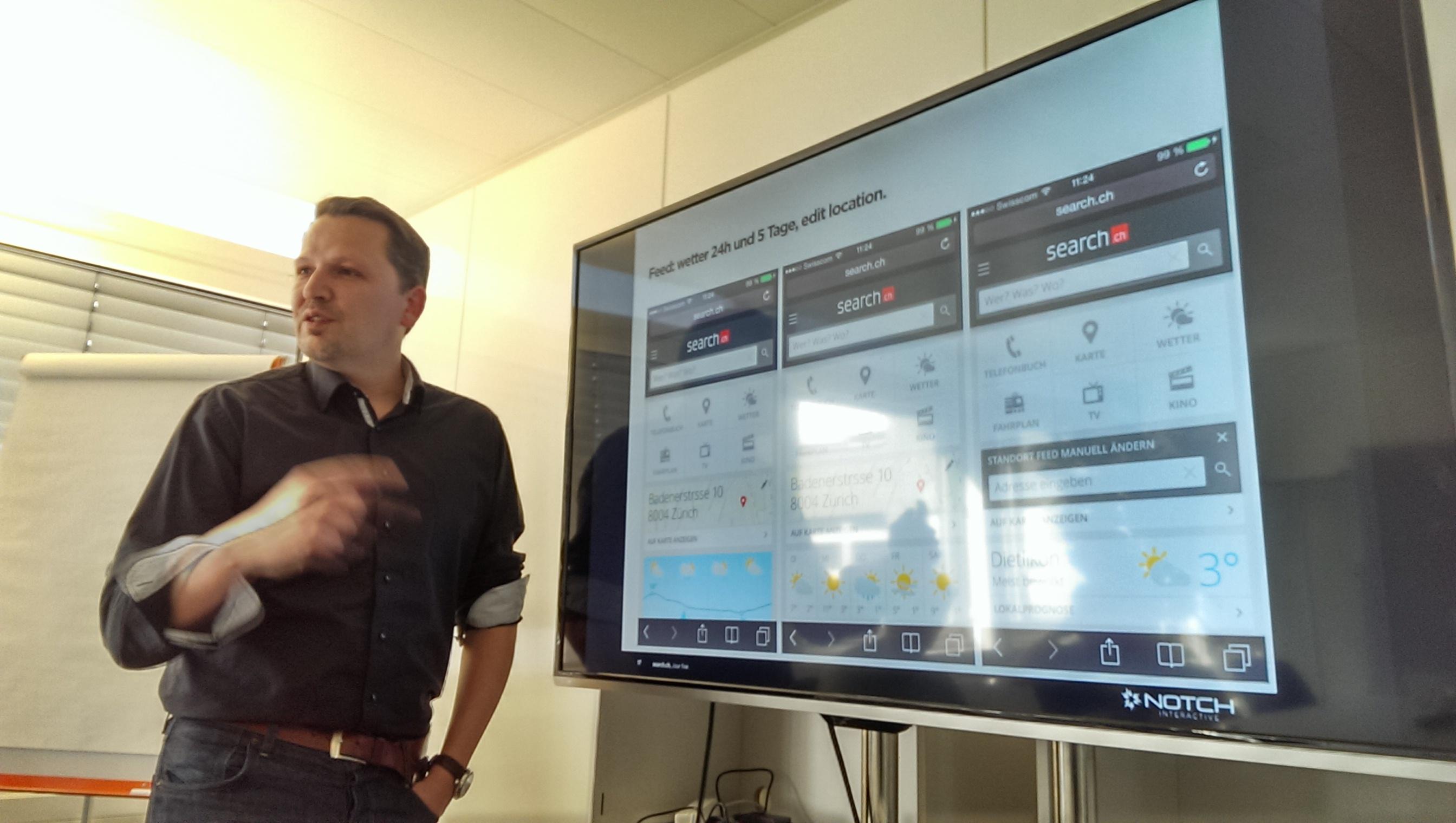 Roger Oberholzer von Notch Interactive präsentiert Designvorschläge