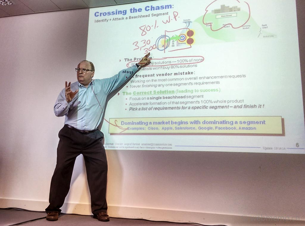 Michael Eckhard from the Chasm Institute speaking on Crossing the Chasm