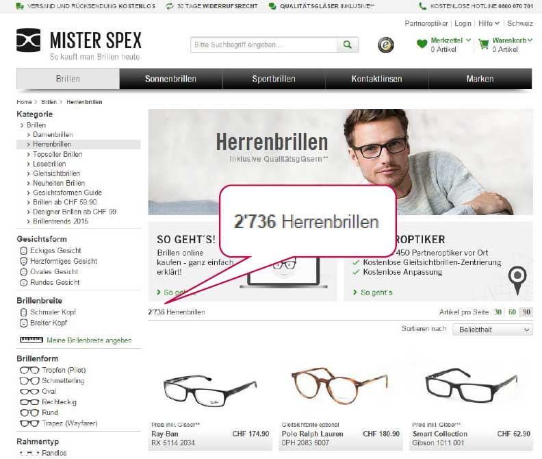 Facettierte Suche bei Mister Spex Brillen
