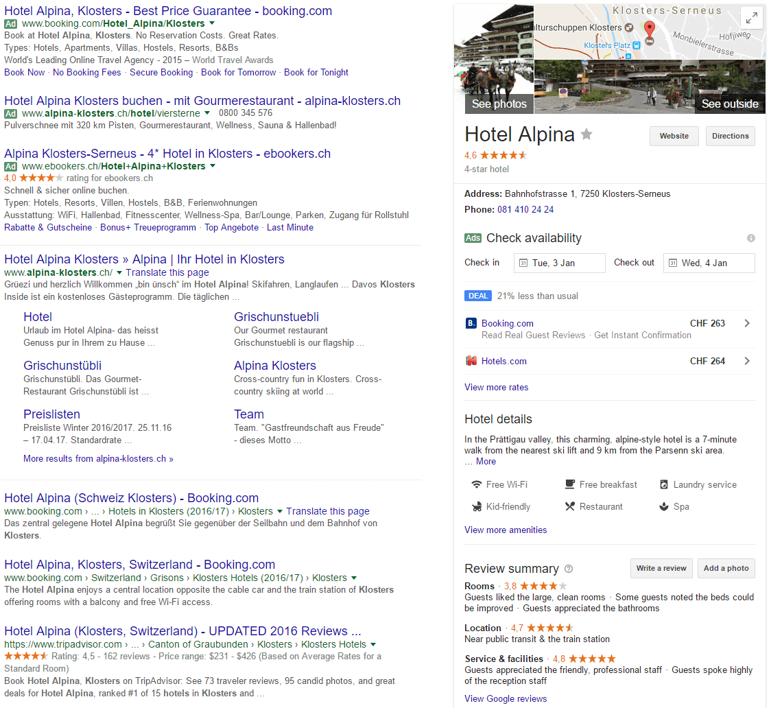 Rechts im Bild die Google Knowledge Card neben der Trefferliste