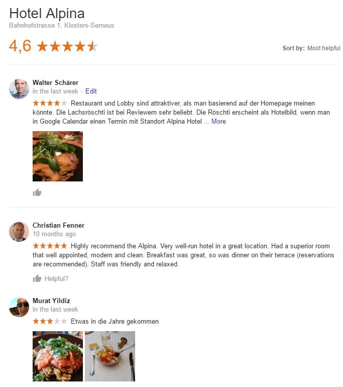 Unbeantwortete Google-Reviews mit Fotos vom Essen