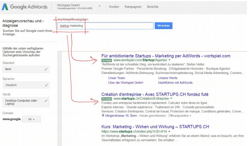 Google AdWords Anzeigenvorschau