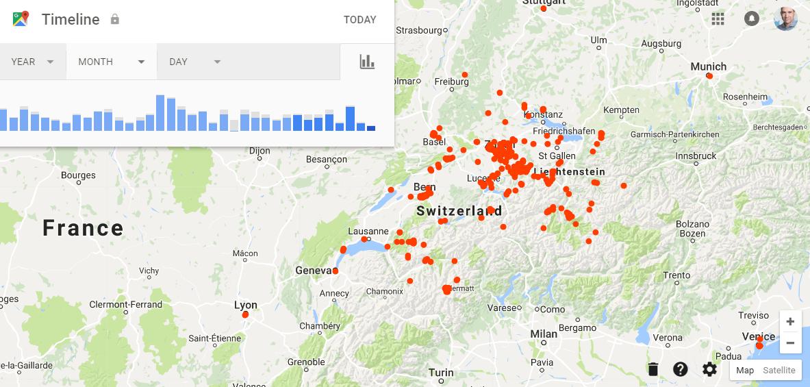 Personalisierte Google Maps Timeline