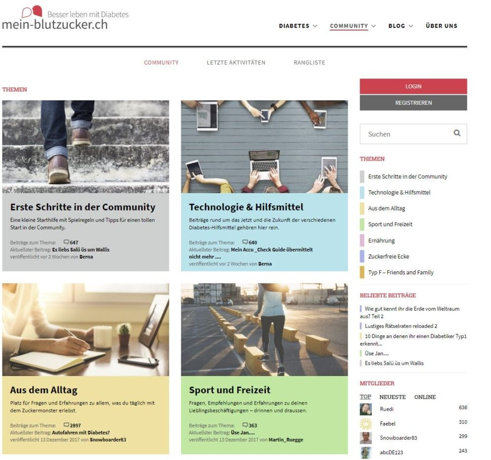 Diabetes Community Websites des Paraplegikerzentrums Nottwil