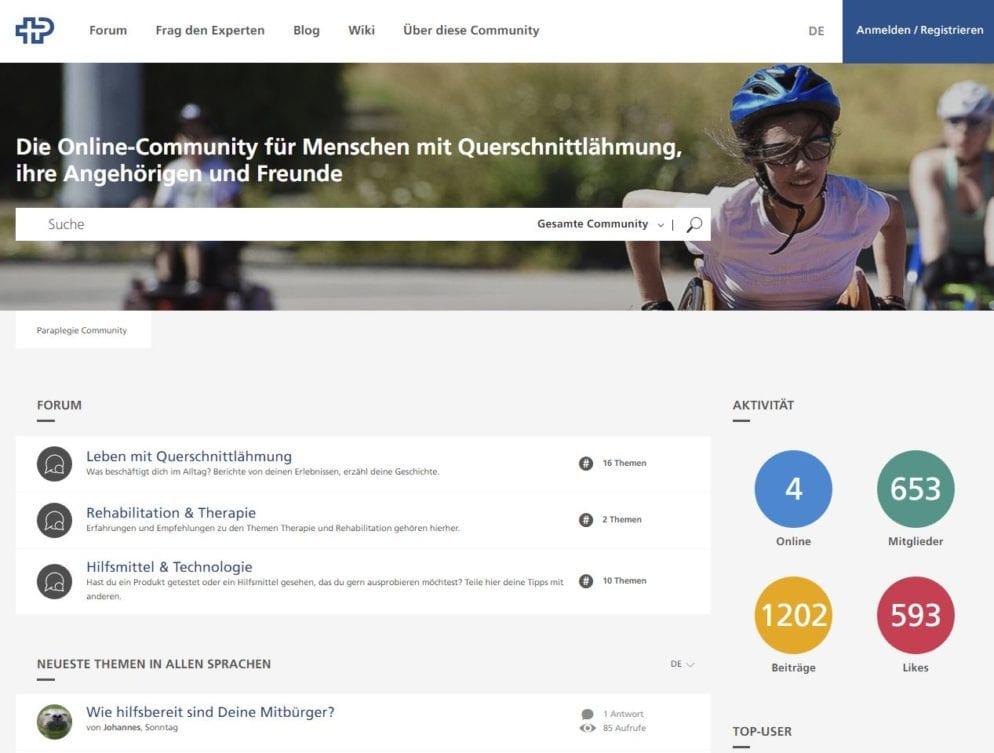 Community Website des Paraplegikerzentrums Nottwil für Querschnittgelähmte