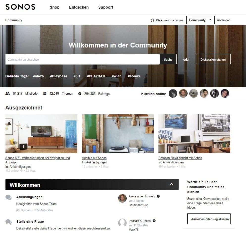 Community-Website der Sonos Lautsprecher