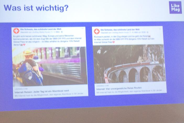 Interrail-Kampagne auf Facebook: Was funktioniert besser, der Mann am Bahnhof oder der Glacier Express auf dem Landwasserviadukt? LikeMag am Internet-Briefing
