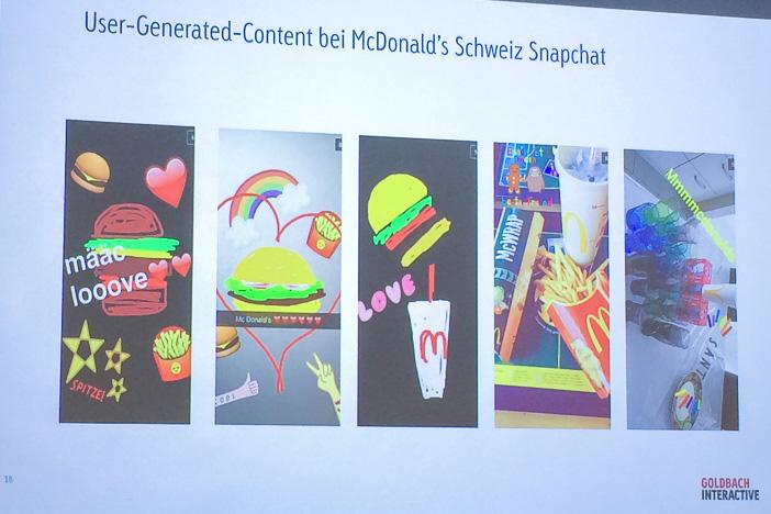 Snapchat-Kanal von McDonald's Schweiz