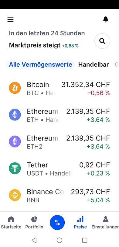 Coinbase-App mit Bitcoin, Ethereum, etc.